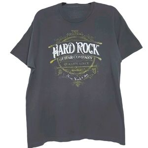 Hard Rock Cafe Men's Dark Grey T-Shirt Large